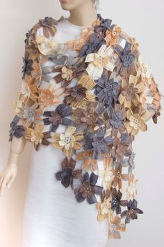 Crochet Scarves, Crochet Shawl, Crochet Clothes, Knit Crochet, Lightweight Scarf, Scarf Design, Cotton Scarf, Crochet Accessories, Crochet Flowers