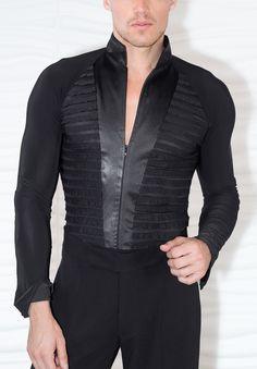 Dance America Mens High Collared TUX Latin Shirt MS28 | Dancesport Fashion @ DanceShopper.com