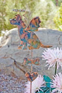 Pit Bull  Garden Stake / Pet Memorial / Metal Garden Art / Dog Art / Copper Art / Angel Ornament / Dog Sculpture / Metal Dog Sign by GardenCopperArt on Etsy