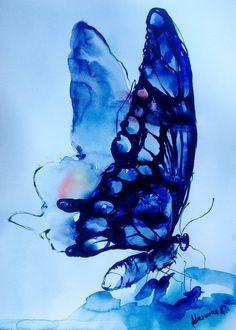Blaue Schmetterling Aquarell von AlisaAdamsoneArt auf Etsy