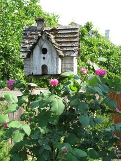 Cottage birdhouse in the flowers!!