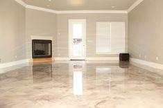 Marbleized metallic epoxy, epoxy floors, decorative concrete, decocretestudios.com #DIYShedFloor