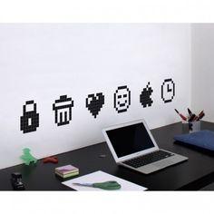 #Stickers #icons pour les murs des #bureaux ! #Déco #Bureaux #Geek #Pixels #Black- Trouvé sur : http://www.kollori.com/decoration-de-bureau/stickers-de-bureau/stickers-icones.html