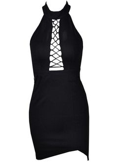 16.73 Black Plain Hollow-out Slit Round Neck Mini Dress online with cheap  prices and 28c0561c4