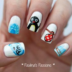 penguin themed nail art