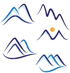 Set of stylized mountains logo vector 1109507 - by Glopphy on VectorStock®