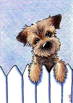 Border Patrol Canvas Print / Canvas Art by Kim Niles Border Terrier Drawing – Border Patrol von Kim Niles Cute Drawings, Animal Drawings, Drawing Borders, Border Terrier, Illustration, Cartoon Dog, Dog Paintings, Caricatures, Dog Art
