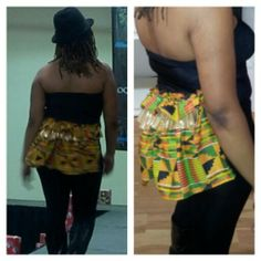 Black tube top with gold and Kente bustle in back