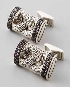 Classic Chain Black Sapphire Cuff Links by John Hardy at Neiman Marcus.
