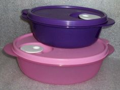 Tupperware CrystalWave Microwave Bowls, Pink 'n Purple, Lunch Set by Tupperware. $39.99. Vents to allow steam to escape while reheating. Microwave reheatable, dishwasher safe. Tupperware CrystalWave Microwave Bowls, Set of 2, 1 purple, 1 pink. Purple: 2 1/2 cup capacity -- Pink: 4 1/4 cup capacity. Ideal for leftovers, taking your lunch to work or school, serve, store, transport. Tupperware CrystalWave Bowl Set.  1 Purple, 2 1/2 cup capacity, 1 pink, 4 1/4 cup...
