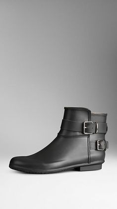 Black Belted Check-Lined Rain Boots - Image 1