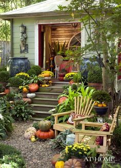 Fall decor of potting shed