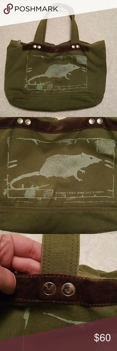 "Marc by Marc Jacobs bag Marc by Marc Jacobs ""Stinky Rat"" limited edition canvas tote in Army green. Marc By Marc Jacobs Bags Totes"
