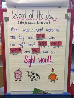 22 Kindergarten Anchor Charts You'll Want to Recreate Kindergarten_Anchor_Chart_Sight_Words<br> These kindergarten anchor charts will give you the tools you need to teach math, reading, friendship skills, and much more! Kindergarten Anchor Charts, Kindergarten Lesson Plans, Preschool Literacy, Teaching Kindergarten, Morning Message Kindergarten, Kindergarten Routines, Kindergarten Word Work, Kindergarten Posters, Kindergarten Language Arts