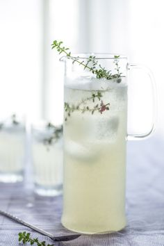 Oh the lovely things: food  THYME LEMONADE  Yields 6 - 1 cup servings  Ingredients  1 cup water 1 cup sugar 4-5 sprigs fresh thyme 1 cup freshly squeezed lemon juice 4 cups of water