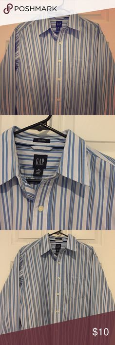 "Men's GAP ""Classic Fit"" Perfect condition blue stripe button down. Classic fit. GAP Shirts Casual Button Down Shirts"