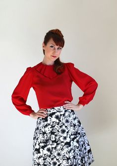 1970s Red Blouse Mad Men Fashion Office Fashion by gogovintage, $24.00