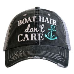 Boat Hair Don t Care distressed trucker cap with embroidery 2798f8743ad2