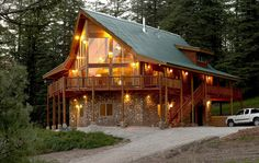 nice size log cabin house