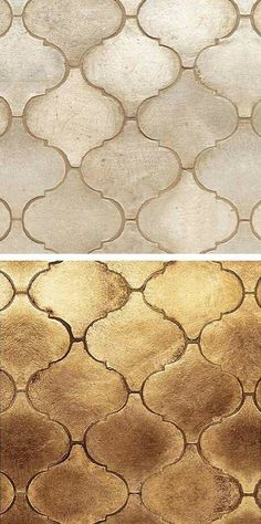 Walker Zanger Arabesque tile - saw this used as a kitchen backsplash on home decorating show.gorgeous silver and gold tiles!