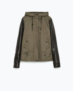 Image 9 of HOODED PARKA WITH LEATHER EFFECT SLEEVE from Zara