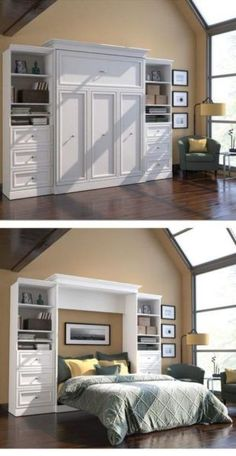 Turn your home office into a guest room with a hide-away Murphy bed. The bed stows against the wall in its custom frame when not in use, and when company comes you simply pop it open and it's ready fo Guest Room Office, Home Office, Office Decor, Office Furniture, Office Ideas, Furniture Ideas, Apartment Office, Small Office, Camas Murphy