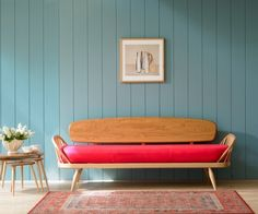 simple, pink, wooden sofa