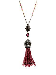 Ruby, Diamond, & Black Onyx Pendant Necklace