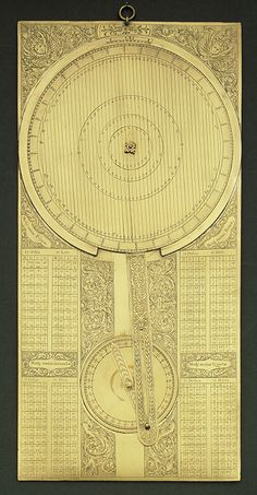 Galileo's jovilabe, 17th century Florence, Istituto e Museo di Storia della Scienza, inv. 3178  This instrument was designed to calculate the periods of Jupiter's moons. It is a complex analogue calculator whose use, Galileo argued, would allow navigators to determine longitude at sea.