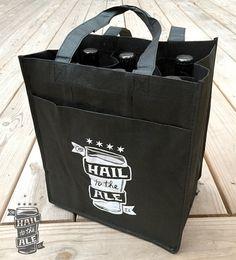 6 Bottle Reusable Beer Tote; Beer Gift, Craft Beer, Beer Bag, Tote Bag, Gift for Men, Beer Bottle Holder, Reusable Bag, Beer Glass