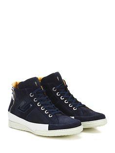 PACIOTTI 4US - Sneakers - Uomo - Sneaker in camoscio, pelle e tessuto tecnico con zip su ambo i lati e logo su lato esterno. Suola in gomma, tacco 25. - NAVY\WHITE