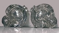 For Sale on - Pair of American Alvin Sterling Art Nouveau dishes, New Jersey, circa Each formed as a stylized water lily leaf with blossom handle. Gorham Sterling, Sterling Silver, Art Nouveau, Dining Furniture, American, Antique Silver, Objects, Entertaining, Dishes