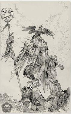 Poxxil-Ilustration-Linework by on DeviantArt Dark Fantasy Art, Fantasy Artwork, Fantasy Character Design, Character Art, Art Sketches, Art Drawings, Arte Dark Souls, Monster Concept Art, Arte Obscura
