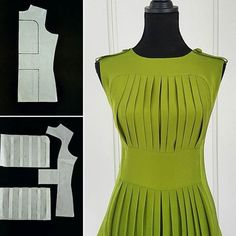 Nelly Trines on Instagram ~ Diagram for a pleated dress ~
