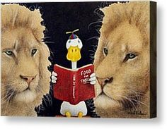 Reading Between The Lions... Painting by Will Bullas - Reading Between The Lions... Fine Art Prints and Posters for Sale