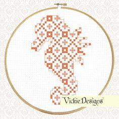 Seahorse Animal Geometric Modern Cross Stitch Pattern PDF by VickieDesigns on Etsy