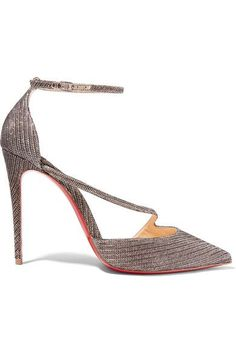Christian Louboutin - Fliketta 100 Glittered Canvas Pumps - Anthracite - IT