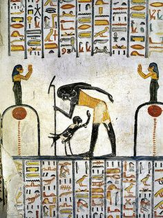 Egypt, Thebes, Luxor, Valley of the Kings, Tomb of Ramses VI, mural painting from Illustrated Book of the Earth in Burial chamber from 20th dynasty