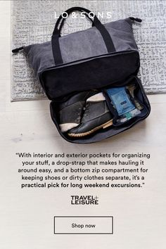 """Travel + Leisure featured the Catalina Deluxe on their list of """"The Best Weekender Bags for Every Style"""" calling out the bottom-zip pocket for keeping your shoe's and dirty clothes separate! My Bags, Purses And Bags, Christmas In Europe, Christmas Gifts, Canvas Weekender Bag, On The Road Again, Travel Packing, Packing Tips, Travel Items"""