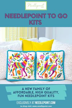 New for 2021! Shop the exclusive collection of affordable, high quality, fun needlepoint kits! 😍  •  •  #newneedlepoint #NeedlepointDotCom #needlepointkit #2021needlepoint #needlepointersofpinterest #stitchersofpinterest #needlepointpillow #homedecor #needlepointproject