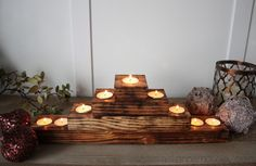 DIY Rustic Christmas Tree Tealight Holder