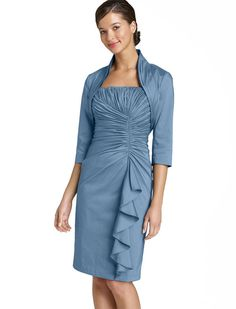 Sheath/column Spaghetti Straps Knee-length Blue Mother Of The Bride Dress Suit With A Wrap