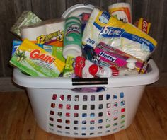 what a useful idea for a housewarming gift! Don't forget the necessities!!! Laundry basket filled with cleaners!!! love this for a house warming party or wedding shower!