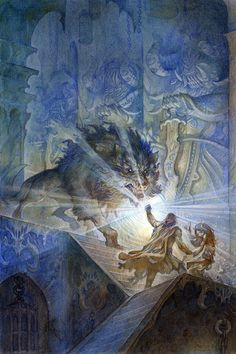 Beren and Luthien face Carcaroth with the Silmaril by Justin Gerard