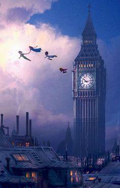 You Can Fly Disney Peter Pan Big Ben London Neverland Artwork Giclée on Canvas in | eBay