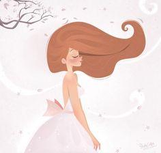 Cute Girl #Hair #Wind #Pastel / Dolce ragazza #Capelli #vento #Pastello - Art by Stephy Coffey