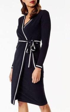 Karen Millen, Stripe Wrap Dress Blue/Multi