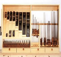 It won't solve a tool addiction, but it'll make finding tools easier. by Mike Siemsen pages You've no doubt seen photos of the H. Antique Woodworking Tools, Woodworking Hand Tools, Woodworking Magazine, Woodworking Workshop, Popular Woodworking, Woodworking Projects, Wood Projects, Woodworking Tool Cabinet, Woodworking Quotes