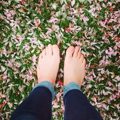 I love nothing better than grass under my feet, walking barefoot through fallen flowers, simple pleasure, nature