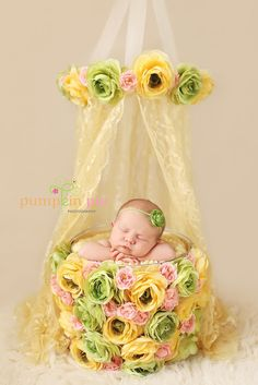 Just hot glue some flowers all around a basket, and what a cute newborn prop!!!